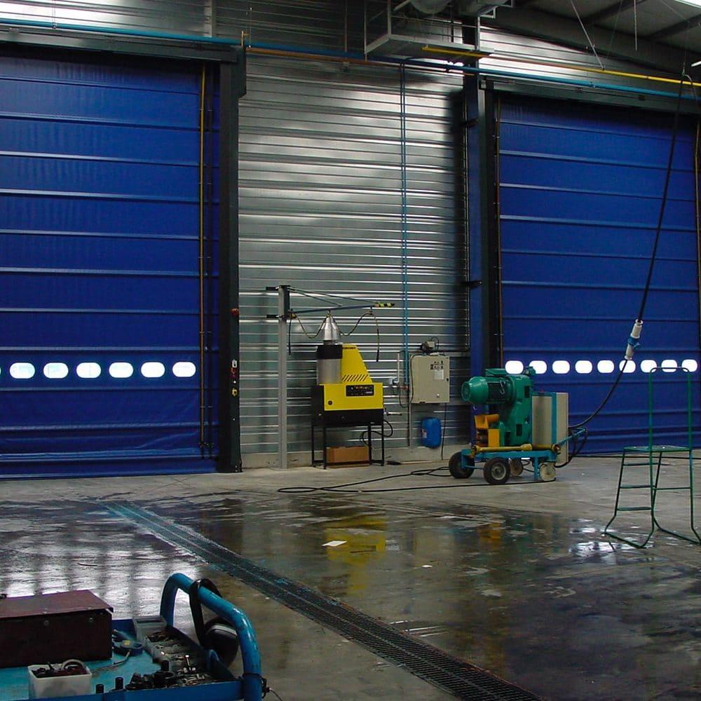 Coppia di porte rapide ad impacchettamento automatico F30 blu