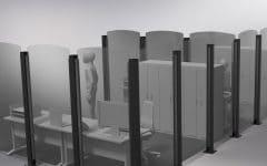 Render 3d di un ufficio con parete divisoria protettiva Safe Wall