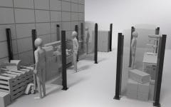 Render 3d di un ufficio con pareti divisorie Safe Wall