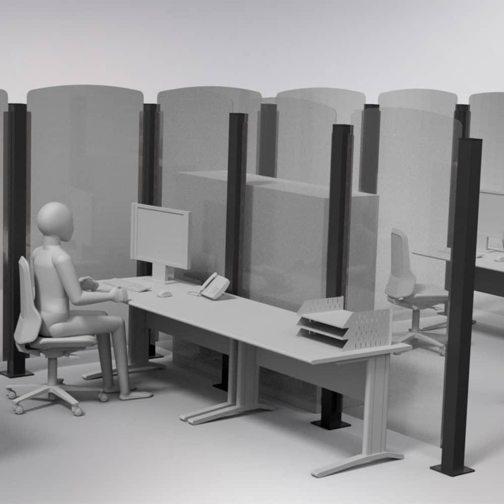 Render 3d di scrivanie con divisorie protettive Safe Wall