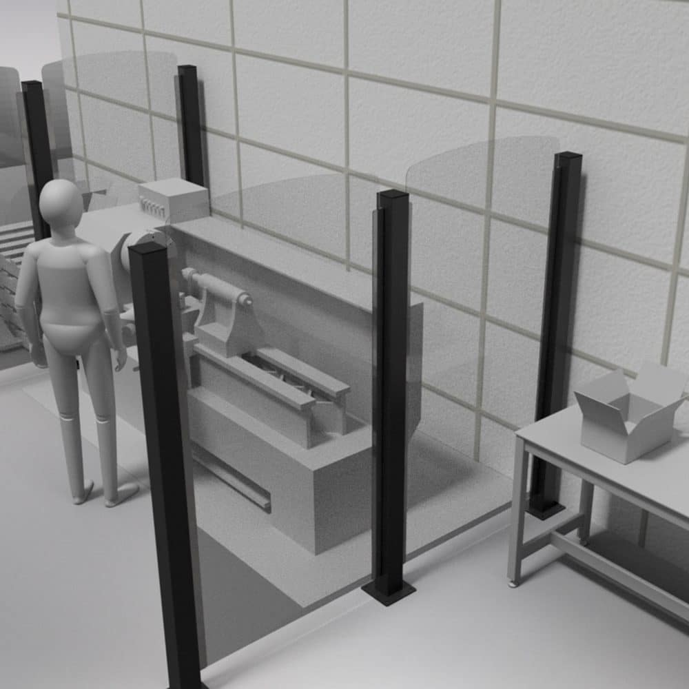 Render 3d di scrivanie con divisorie Safe Wall